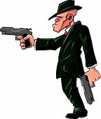 ������, ������: Cartoon gangster hitman pointing his gun
