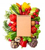 Recipe Book With Fresh Vegetables And Herbs. Healthy Food Ingredients
