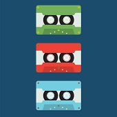 Flat Design Cassette Tape.