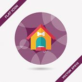 Pet Dog House Flat Icon With Long Shadow,eps10
