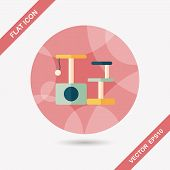 Pet Cat Tree Flat Icon With Long Shadow,eps10