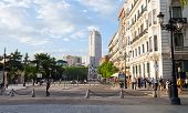 Torre De Madrid Building Sunnset View On A Spring Day In Madrid