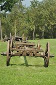 Wagon With Wooden Wheels. Museum, Renovated Monument. Waggon-driving