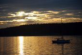 foto of orca  - Sunset off Orcas Island with sailboat anchored - JPG