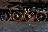pic of train-wheel  - Wheels of an old train closeup photo - JPG