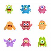 stock photo of monsters  - Monsters characters set flat with fun cheerful furious scary angry creatures isolated vector illustration - JPG