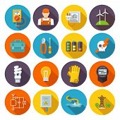 stock photo of power transmission lines  - Electricity icon flat set with electric energy power equipment test toolbox isolated vector illustration - JPG