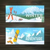 Winter sport tourism banners set