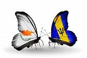 Two Butterflies With Flags On Wings As Symbol Of Relations Cyprus And Barbados