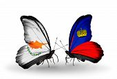 Two Butterflies With Flags On Wings As Symbol Of Relations Cyprus And Liechtenstein