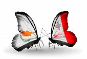 Two Butterflies With Flags On Wings As Symbol Of Relations Cyprus And Malta