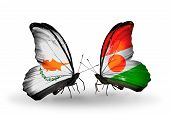 Two Butterflies With Flags On Wings As Symbol Of Relations Cyprus And Niger