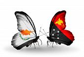 picture of papua new guinea  - Two butterflies with flags on wings as symbol of relations Cyprus and Papua New Guinea - JPG