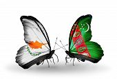 Two Butterflies With Flags On Wings As Symbol Of Relations Cyprus And Turkmenistan