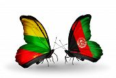 Two Butterflies With Flags On Wings As Symbol Of Relations Lithuania And Afghanistan