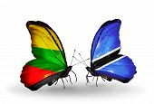 Two Butterflies With Flags On Wings As Symbol Of Relations Lithuania And Botswana