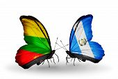 Two Butterflies With Flags On Wings As Symbol Of Relations Lithuania And Guatemala