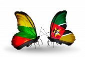 Two Butterflies With Flags On Wings As Symbol Of Relations Lithuania And Mozambique
