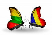 image of chad  - Two butterflies with flags on wings as symbol of relations Lithuania and Chad Romania - JPG