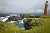 stock photo of butts  - Scottish coastline landscape with lighthouse - JPG
