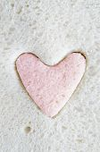 White Bread  With Pink Heart Cut Out
