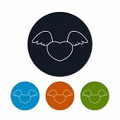 Icon heart with wings, vector illustration