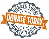 Donate Today Orange Vintage Seal Isolated On White