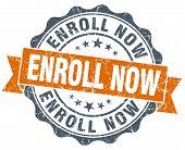 Enroll Now Orange Vintage Seal Isolated On White
