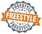 Freestyle Orange Vintage Seal Isolated On White