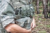 stock photo of army  - US Army soldier wearing his armor jacket - JPG