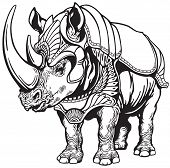 stock photo of rhino  - rhino or rhinoceros in the armor  - JPG