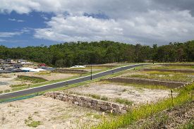 picture of land development  - New land development by an Australian forest - JPG