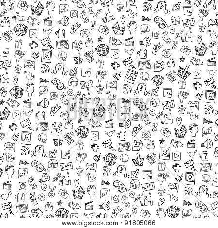 Social Media Icon PatternbackgroundDoodle Sketchy Notepaper Poster
