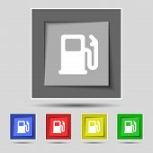 pic of petrol  - Petrol or Gas station Car fuel icon sign on the original five colored buttons - JPG
