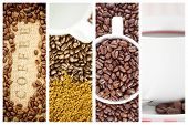 image of coffee crop  - Coffee beans surrounding coffee stamp on sack against coffee - JPG