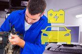 image of car repair shop  - Male mechanic repairing car engine against auto repair shop - JPG