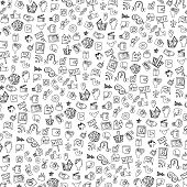 picture of blog icon  - Social Media Icons  pattern in Doodle sketchy on Notepaper  - JPG