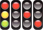 stock photo of traffic light  - Traffic lamps lights isolated on white - JPG