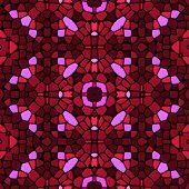 stock photo of kaleidoscope  - Seamless kaleidoscopic mosaic red and pink tile pattern - JPG