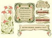 image of art nouveau  - Set of vector labels in the style of art Nouveau - JPG