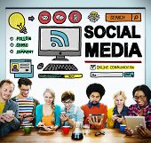 stock photo of  media  - Social Media Social Networking Technology Connection Concept - JPG