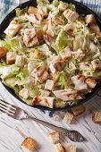 image of caesar salad  - Caesar salad with grilled chicken breast close - JPG