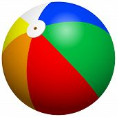 picture of beach-ball  - Five color beach ball 3d vector illustration - JPG