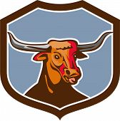 picture of longhorn  - Illustration of a texas longhorn red bull head tongue out set on inside shield crest on isolated background done in retro style - JPG