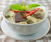 stock photo of curry chicken  - Thai Spicy Green Curry with Green Eggplant Chicken and Coconut Milk One of The Most Famous Curry Recipes in The World - JPG
