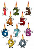 pic of candle flame  - Colorful cartoon numbers characters with birthday candles  - JPG
