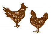 stock photo of thighs  - Hen and rooster butcher cuts diagram with neck - JPG