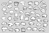 image of chef cap  - Classic chef toques and baker hats in outline sketch style on gray checkered background for restaurant or cafe kitchen staff uniform design - JPG