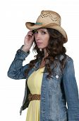 foto of redneck  - Beautiful young country girl woman wearing a stylish cowboy hat  - JPG