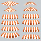 stock photo of canopy roof  - Orange White Tents Isolated on Grey Background - JPG